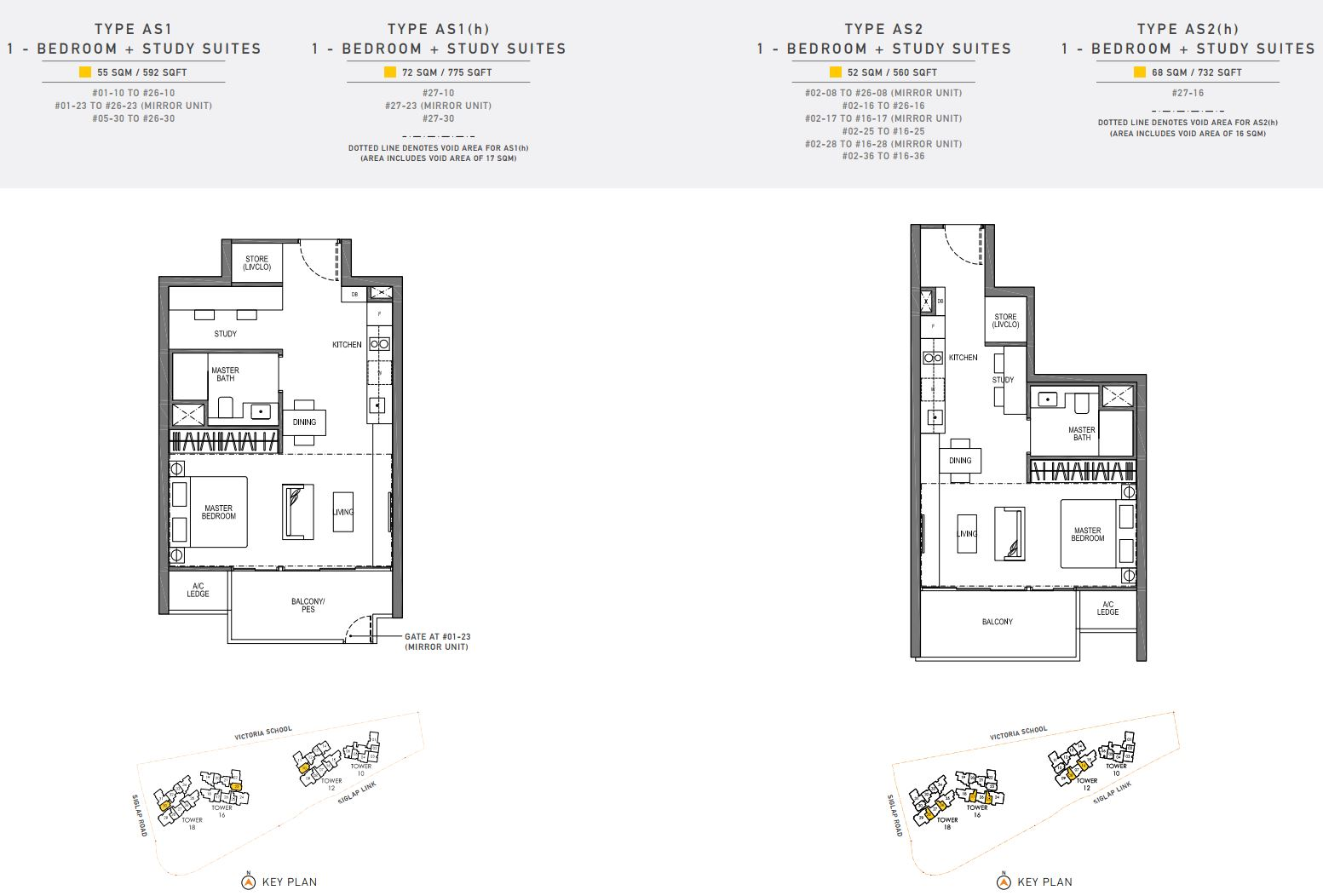 Seaside Residences FloorPlan - 1 Bedroom + Study Suites