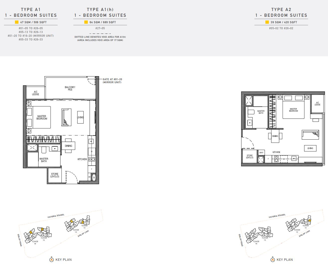 Seaside Residences FloorPlan - 1 Bedroom Suites
