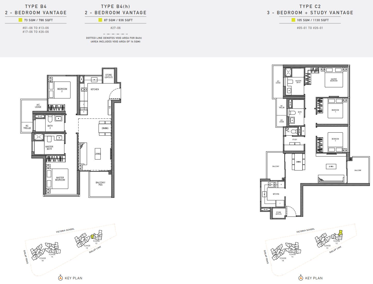 Seaside Residences FloorPlan - 2 & 3 Bedroom Vantage