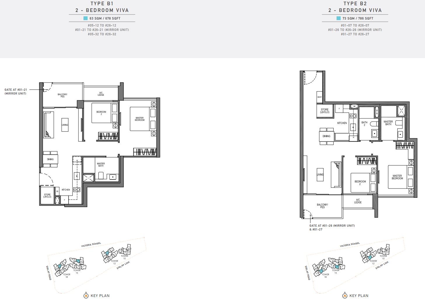 Seaside Residences FloorPlan - 2 Bedroom Viva