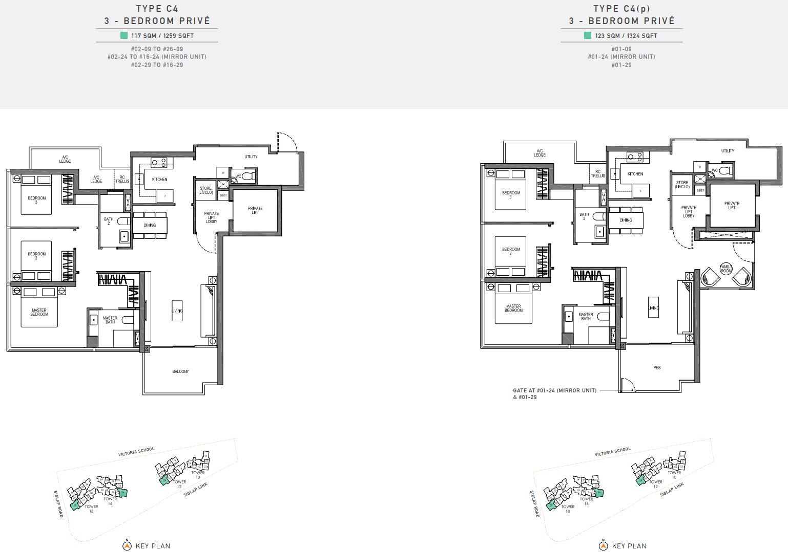 Seaside Residences FloorPlan - 3 Bedroom Prive