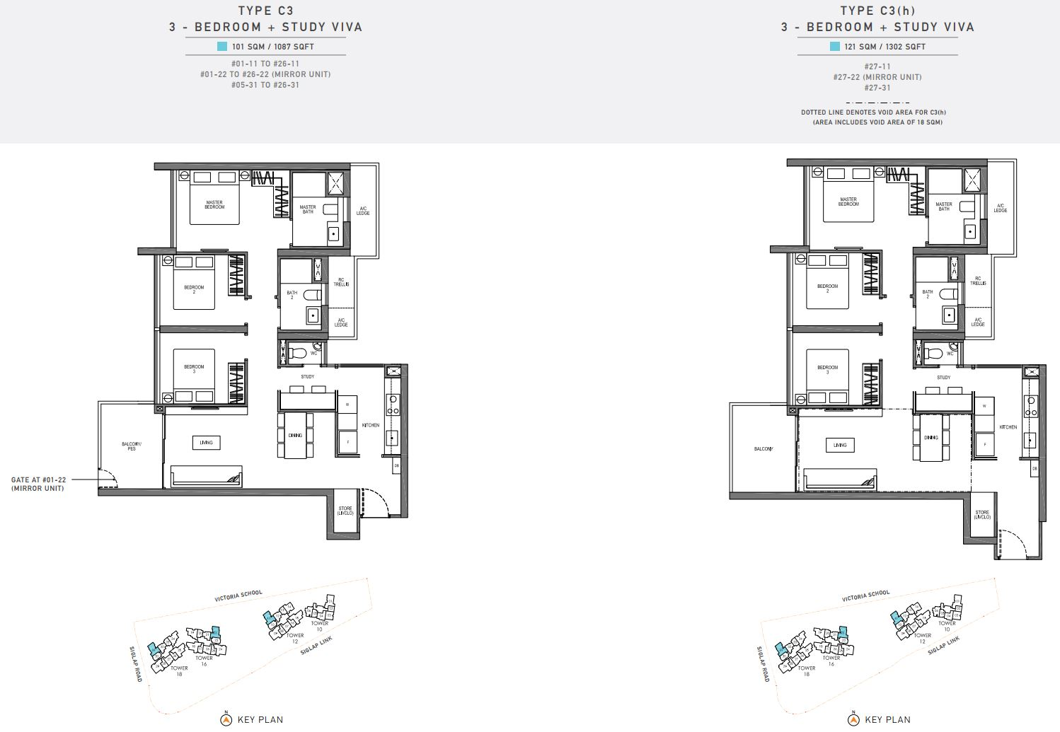 Seaside Residences FloorPlan - 3 Bedroom + Study Viva