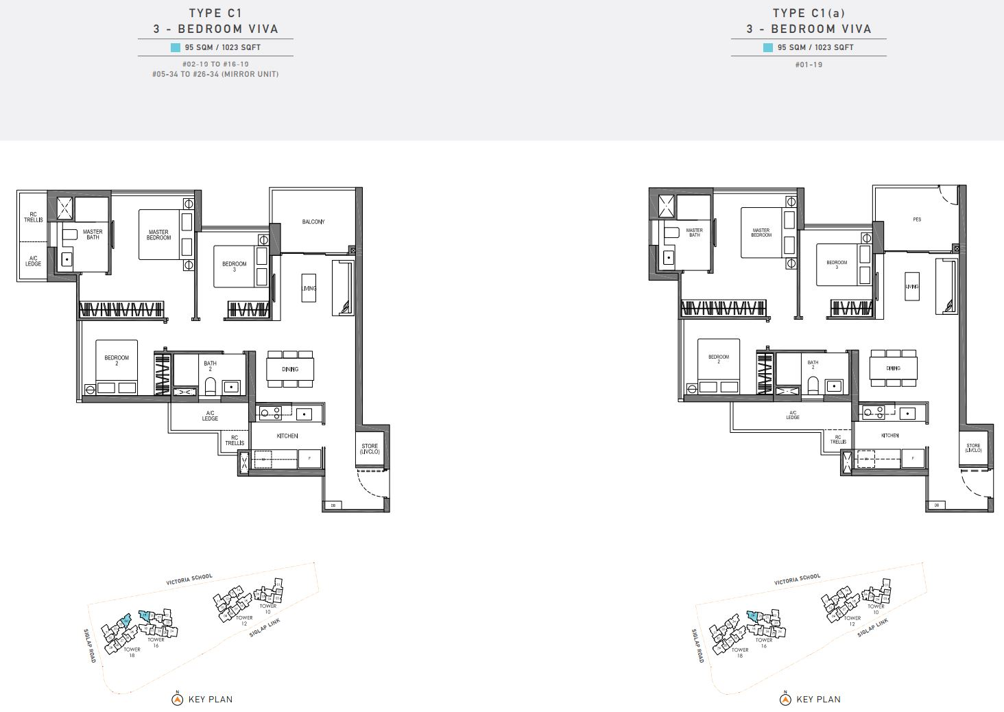 Seaside Residences FloorPlan - 3 Bedroom Viva