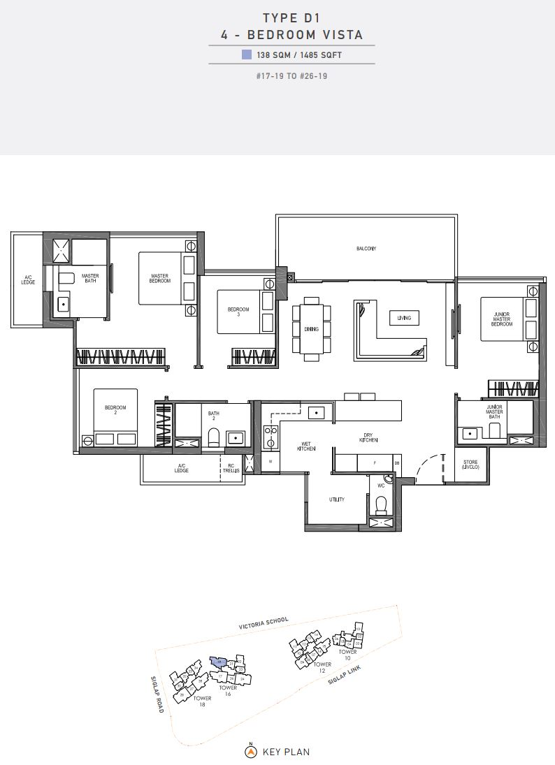 Seaside Residences FloorPlan - 4 Bedroom Vista