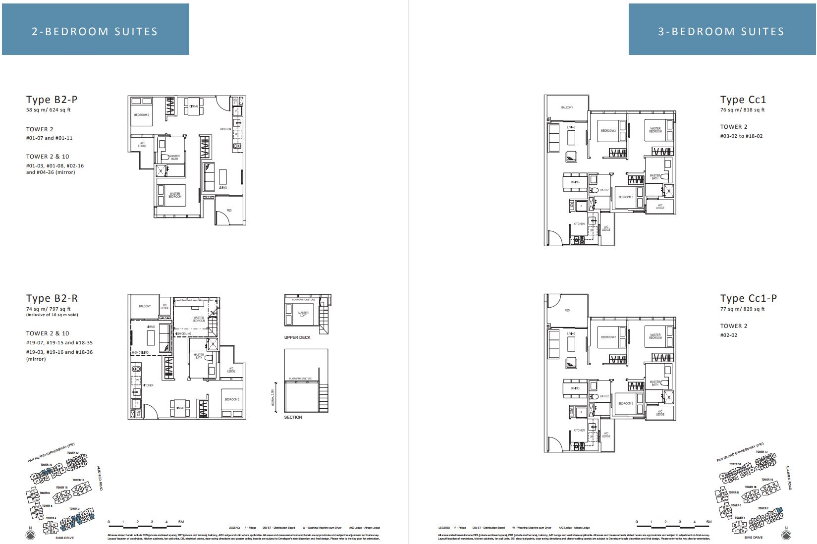 Sims Urban Oasis FloorPlan - 2 & 3 Bedroom Suites