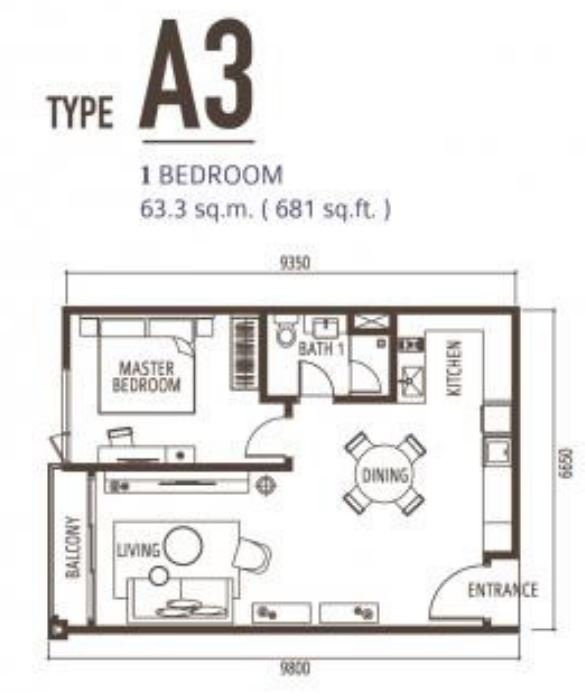 Suasana FloorPlan - Type A3