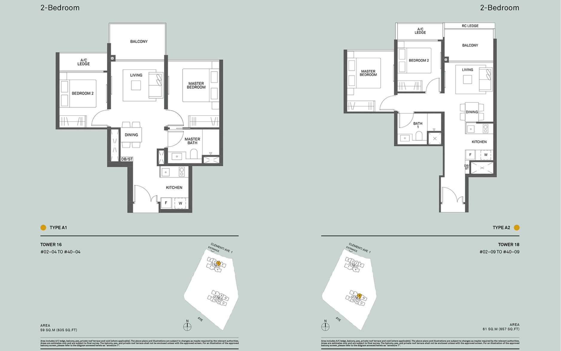The Clement Canopy FloorPlan - 2 Bedroom Type A1 & A2