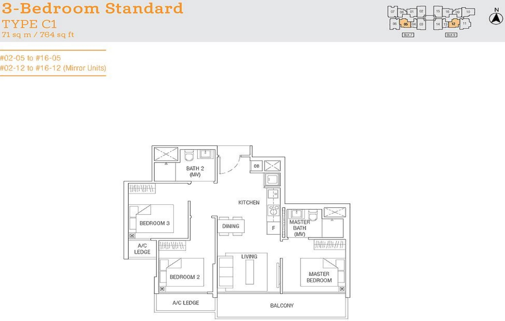 Tre Residences FloorPlan - 3 Bedroom Standard Type C1