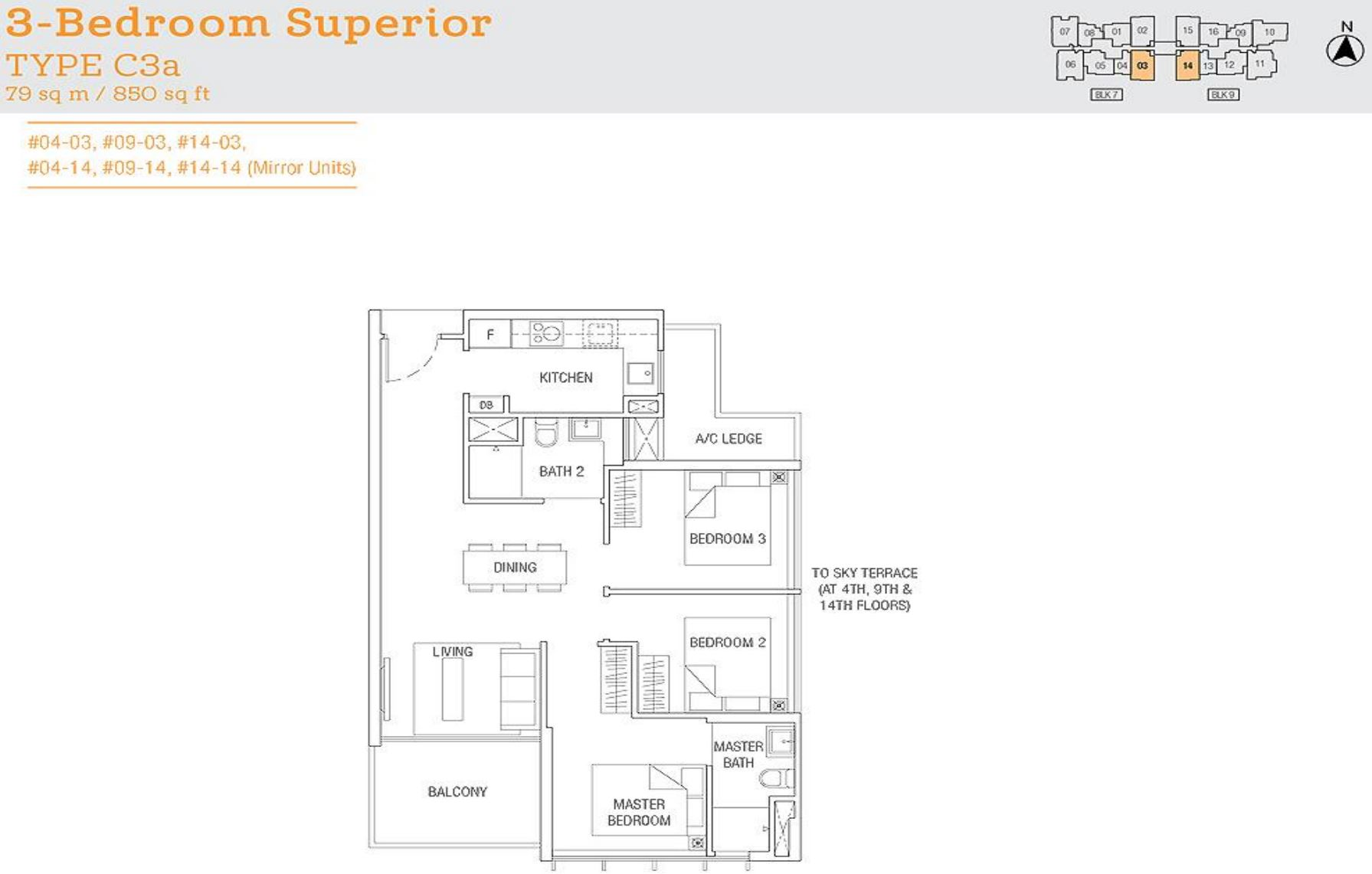 Tre Residences FloorPlan - 3 Bedroom Superior Type C3a