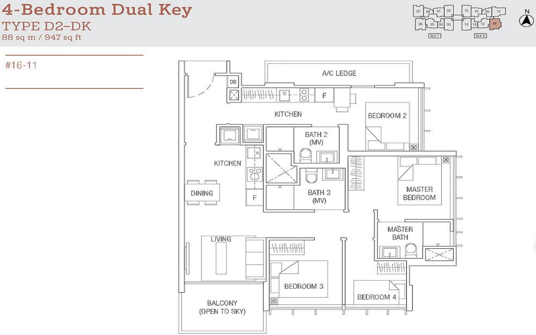 Tre Residences FloorPlan - 4 Bedroom Dual Key Type D2-DK_2