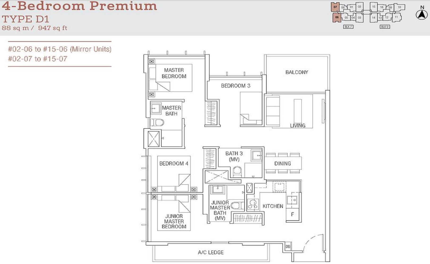 Tre Residences FloorPlan - 4 Bedroom Premium Type D1