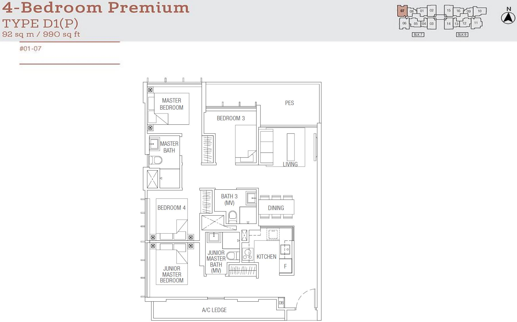 Tre Residences FloorPlan - 4 Bedroom Premium Type D1(P)