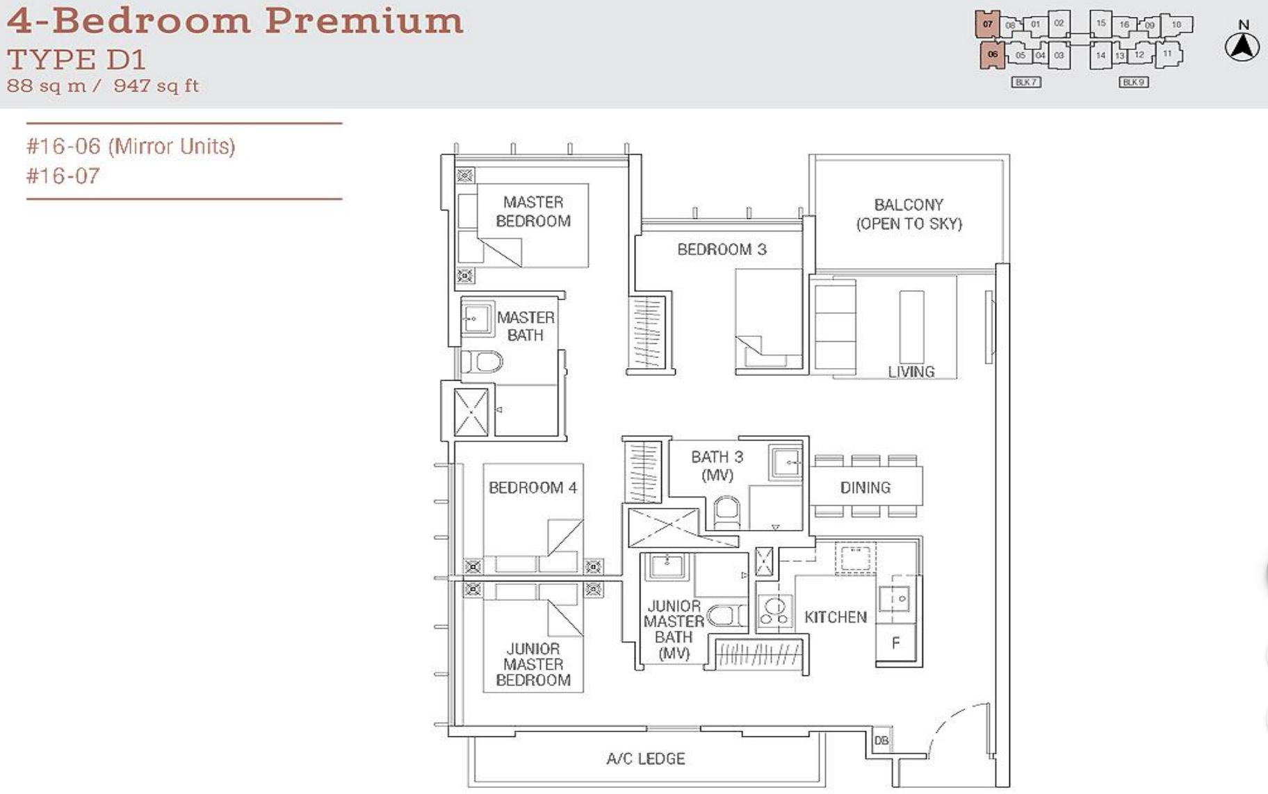 Tre Residences FloorPlan - 4 Bedroom Premium Type D1_2