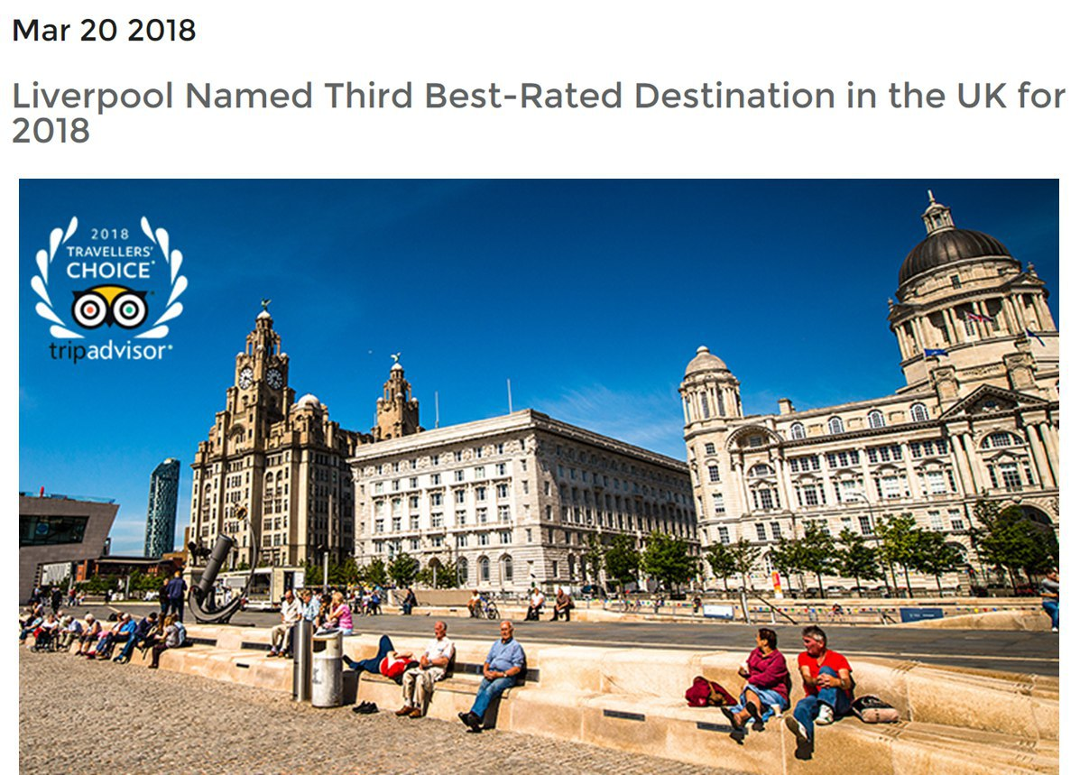 Liverpool Third Best Rated Destination in UK