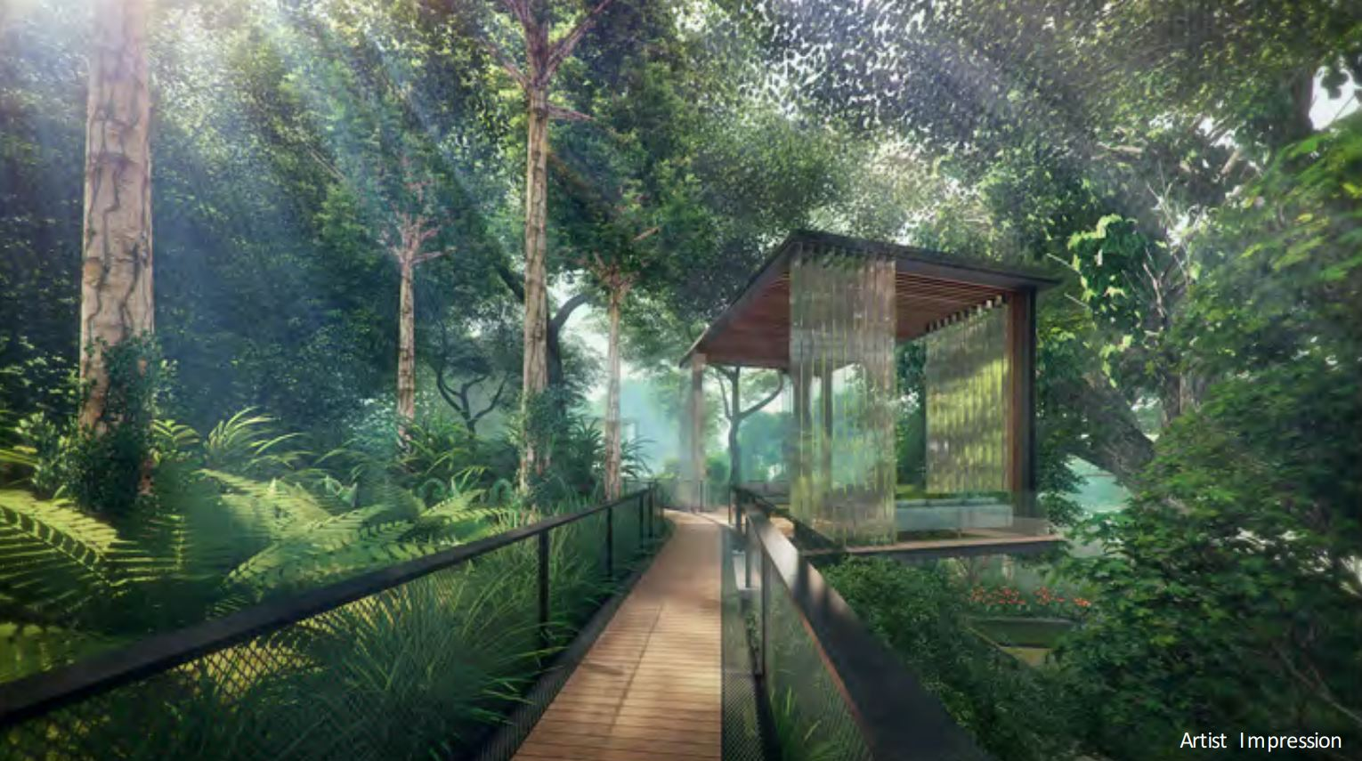 Stirling Residences Rainforest Trail, Hillside Greenery & Yellow Flame Pod