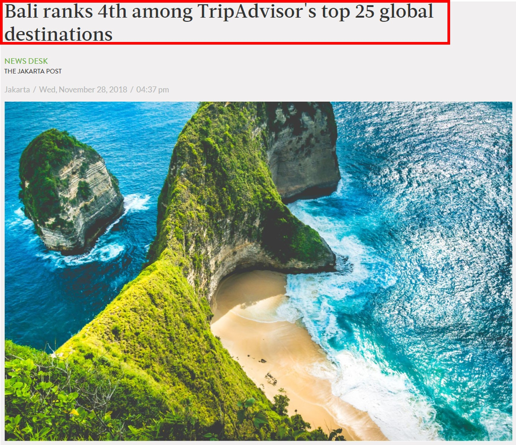 Bali ranks 4th among TripAdvisor's top 25 global destinations